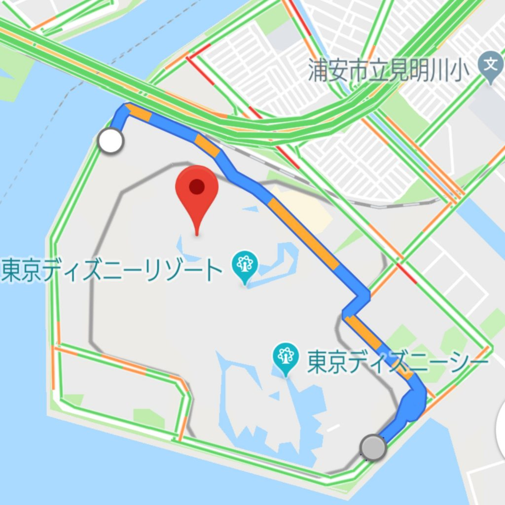 Googleマップより東京ディズニーリゾート周辺道路の混雑具合