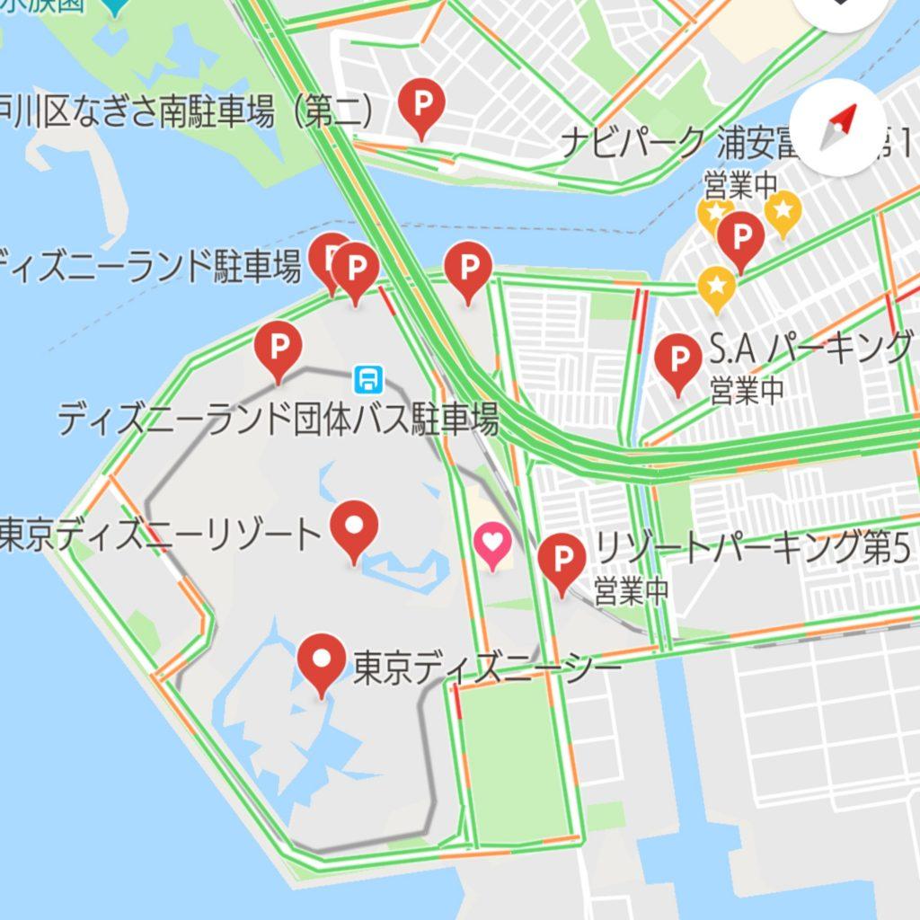 Googleマップのナビより渋滞エリア